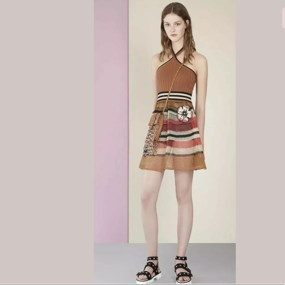 RED Valentino Dresses & Skirts - Red Valentino Floral Crochet Striped Halter Dress